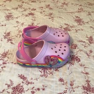 Pink light up rainbow crocs size 10